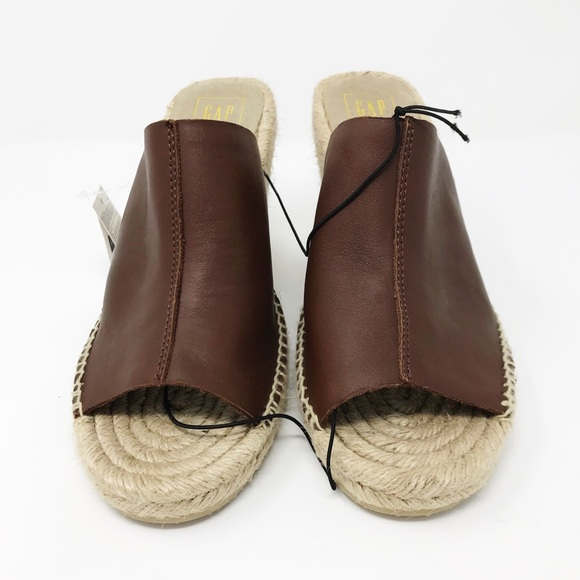 076f7544f GAP Brown Espadrille Leather Slip On Wedge Sandals